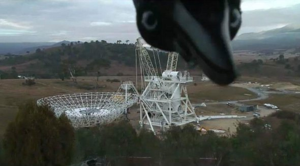 A famous photobomb, taken during the antennae's construction.